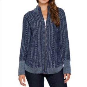 Isaac Mizrahi live! True Denim zip front sweater